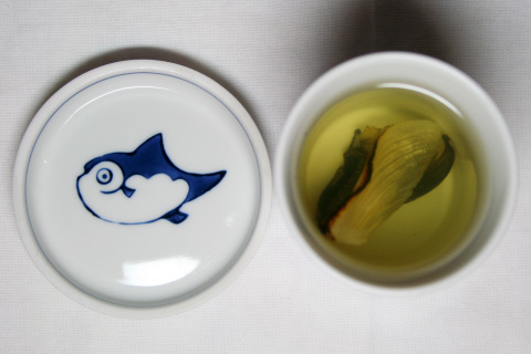 home cooking: hirezake (hot sake with Tiger Fugu fin)