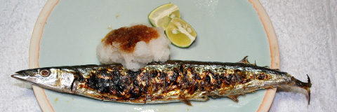 home cooking: Sanma-no-shioyaki (Salt-grilled Pacific Saury)