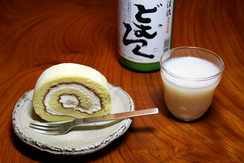 KyotoFoodie Obama Inauguration Party - Sake Kasu Rollcake and Doburoku Sake