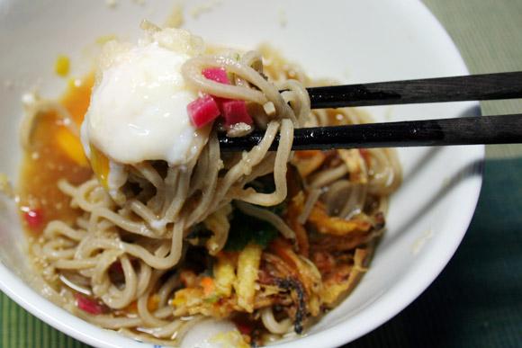 Cold Summer Noodles: Karami Daikon Beni Shoga Onsen Tamago Hiyashi Soba 辛味大根 紅生姜 温泉卵 冷やしそば