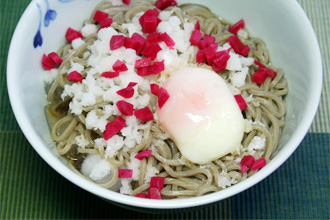Cold Summer Noodles: Karami Daikon Beni Shoga Onsen Tamago Hiyashi Soba