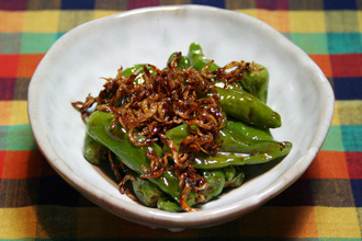 Simmered Shishito Peppers and Jako Itameni